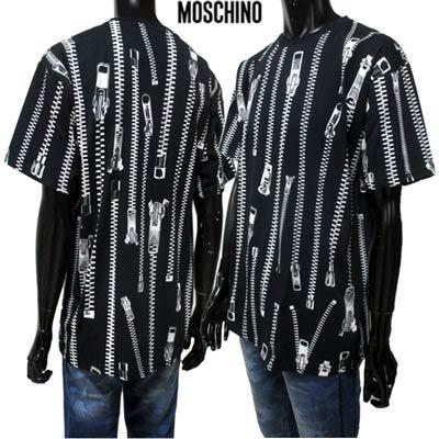 モスキーノ(MOSCHINO) メンズ トップス Tシャツ ロゴ 総柄ZIP柄プリントTシャツ ブラック 0711 2040 2555