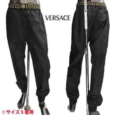 ヴェルサーチ(VERSACE) メンズ パンツ ボトムス ジョガーパンツ ロゴ ウエスト部分グレカ柄・メデューサロゴ付きナイロンジョガーパンツ ブラック AGU03004 AN00251 A008