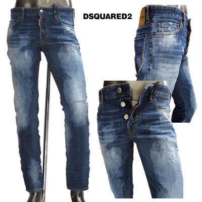ディースクエアード(DSQUARED2) メンズ パンツ デニム ロゴ ブリーチ・クラッシュ加工・バックポケット刺繍入りデニムパンツ インディゴ ネイビー S74LB0612 S30342 470