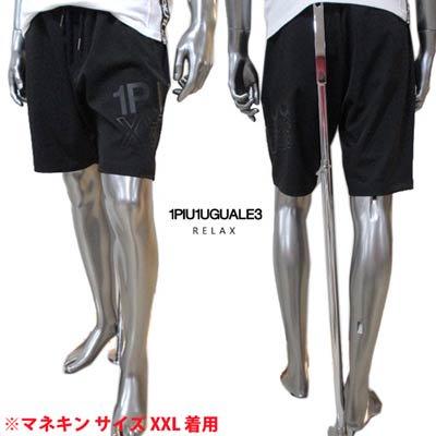 ウノピゥウノウグァーレトレ(1PIU1UGUALE3 RELAX) メンズ パンツ ボトムス ロゴ 裾部分1PIU1UGUALE3ロゴプリント付きハーフパンツ ブラック USB-21025 SN9