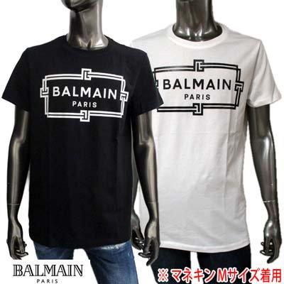 <img class='new_mark_img1' src='https://img.shop-pro.jp/img/new/icons1.gif' style='border:none;display:inline;margin:0px;padding:0px;width:auto;' />バルマン BALMAIN メンズ トップス Tシャツ 半袖  ※同デザインでオーバーサイズタイプもあります。 スクエアロゴプリントTシャツ VH0EF000 G065 EAB/GAB