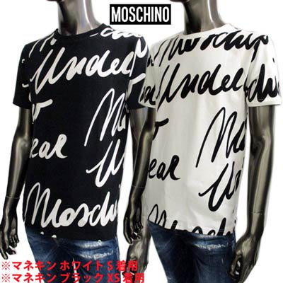 <img class='new_mark_img1' src='https://img.shop-pro.jp/img/new/icons1.gif' style='border:none;display:inline;margin:0px;padding:0px;width:auto;' />モスキーノ MOSCHINO メンズ トップス Tシャツ 半袖 ロゴ 2color 総柄MOSCHINO筆記体ロゴプリント付きTシャツ 白/黒 A1907 8112 1001/1555