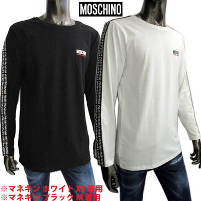 <img class='new_mark_img1' src='https://img.shop-pro.jp/img/new/icons1.gif' style='border:none;display:inline;margin:0px;padding:0px;width:auto;' />モスキーノ MOSCHINO メンズ トップス ロンT 長袖 ロゴ 2color スリーブ部分MOSCHINOロゴライン・チェスト部分ロゴ付ロングTシャツ A1802 8131 1/555