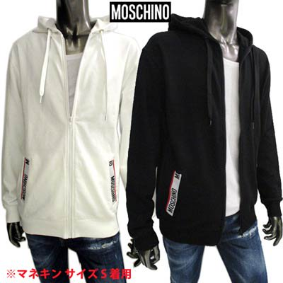 <img class='new_mark_img1' src='https://img.shop-pro.jp/img/new/icons1.gif' style='border:none;display:inline;margin:0px;padding:0px;width:auto;' />モスキーノ MOSCHINO メンズ トップス パーカー フーディー ロゴ 2color ポケット部分MOSCHINOロゴライン付ジップパーカー ホワイト A1705 8120 1/555