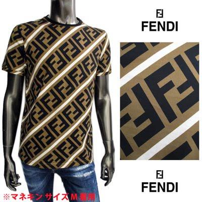 <img class='new_mark_img1' src='https://img.shop-pro.jp/img/new/icons1.gif' style='border:none;display:inline;margin:0px;padding:0px;width:auto;' />フェンディ FENDI メンズ トップス Tシャツ 半袖 ロゴ 総柄FFズッカ柄プリント付きTシャツ ブラウン FY0894 A7A8 F13J3