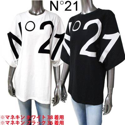 <img class='new_mark_img1' src='https://img.shop-pro.jp/img/new/icons1.gif' style='border:none;display:inline;margin:0px;padding:0px;width:auto;' />ヌメロヴェントゥーノ N°21 レディース トップス Tシャツ 半袖 ロゴ 2color 袖口ワイドデザイン・フロントN°21ビッグロゴ付Tシャツ F101 6314 1101/9000