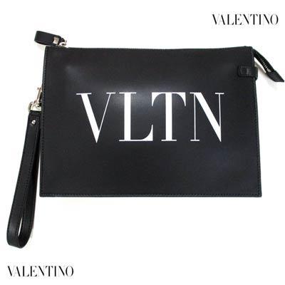 ヴァレンティノ(VALENTINO) メンズ 鞄 バッグ クラッチバッグ ユニセックス可 スタッズ付ストラップ・VLTNロゴレザークラッチバッグ WY2P0P09 LVN 0NO