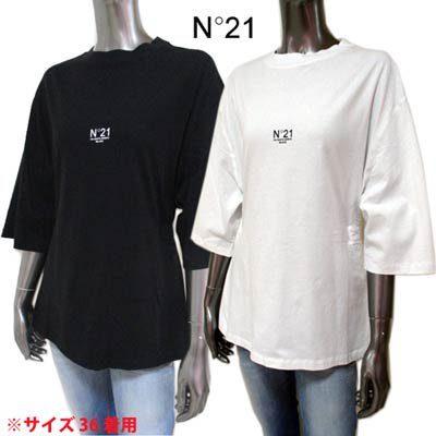 <img class='new_mark_img1' src='https://img.shop-pro.jp/img/new/icons15.gif' style='border:none;display:inline;margin:0px;padding:0px;width:auto;' />レディース トップス Tシャツ 半袖 ロゴ 2color 袖口ワイド・N°21スモールロゴ・バック絞り紐付きTシャツ 白/黒 F091 6314 1101/9000