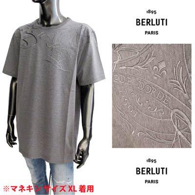 ベルルッティ BERLUTI メンズ トップス Tシャツ 半袖 肩部分ランゲージロゴ/エンブレムロゴ刺繍付Tシャツ グレー R21JRS65 002 P36<img class='new_mark_img2' src='https://img.shop-pro.jp/img/new/icons2.gif' style='border:none;display:inline;margin:0px;padding:0px;width:auto;' />