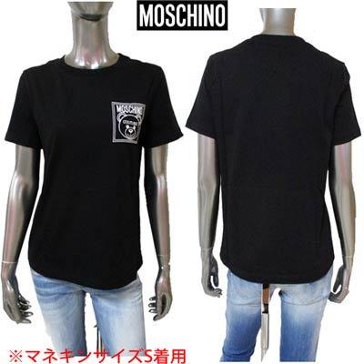 モスキーノ MOSCHINO レディース トップス Tシャツ チェスト部分MOSCHINO BEARロゴ刺繍付きTシャツ ブラック A0709 5540 3555<img class='new_mark_img2' src='https://img.shop-pro.jp/img/new/icons2.gif' style='border:none;display:inline;margin:0px;padding:0px;width:auto;' />