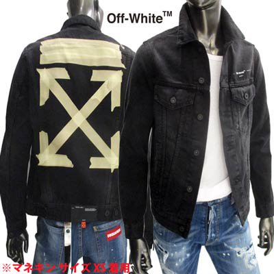オフホワイト(OFF-WHITE) メンズ アウター ジャケット デニムジャケット ロゴ テープアローロゴ・OFF-WHITEロゴ入りデニムジャケット OMYE005R 20E54002 1048