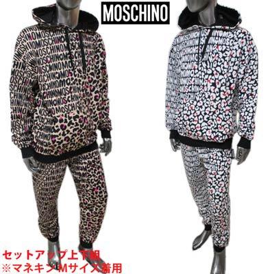 モスキーノ MOSCHINO メンズ トップス パーカー パンツ セットアップ上下組 ロゴ 2color レオパード柄/サイドタグ付きセットアップ A1710+A4310 8105 5118/1003