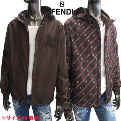 フェンディ(FENDI) メンズ アウター ジャケット リバーシブル可 ロゴ FFプリント・ロゴパッチ入りナイロンジャケット ブラウン 茶色 FAA615 AAA7 F1A0I