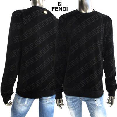フェンディ(FENDI) メンズ トップス ニット セーター ロゴ ベルベット地・総柄FFズッカ柄・バックネック部分ロゴプレート付ライトニット  FY0178 AHCA