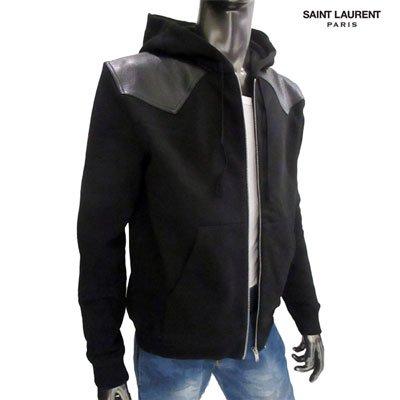 サンローラン(SAINT LAURENT PARIS) メンズ パーカー フーディー 長袖 フード/レザー/ジップパーカー 577083