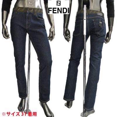 フェンディ(FENDI) メンズ パンツ ボトムス デニム ロゴ ウエスト/ベルトループ部分FFズッカ柄・FENDIレザーロゴパッチ付きスリムデニム ブルー FLP201