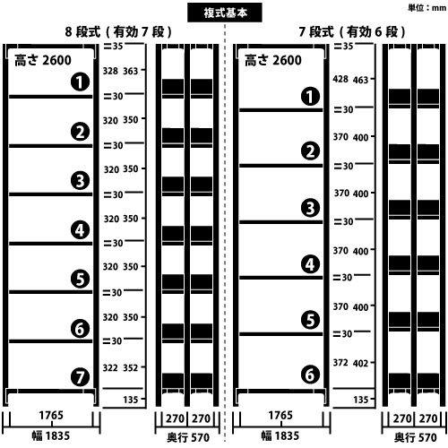 ホワイトラック 軽量書棚(本棚) KU 複式 H2600×W1835×D570(mm)https://img08.shop-pro.jp/PA01034/592/product/100340625_o1.jpg?cmsp_timestamp=20161016060520のサムネイル