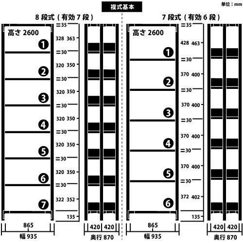 ホワイトラック 軽量書棚(本棚) KU 複式 H2600×W935×D870(mm)https://img08.shop-pro.jp/PA01034/592/product/100947100_o1.jpg?cmsp_timestamp=20161016060522のサムネイル