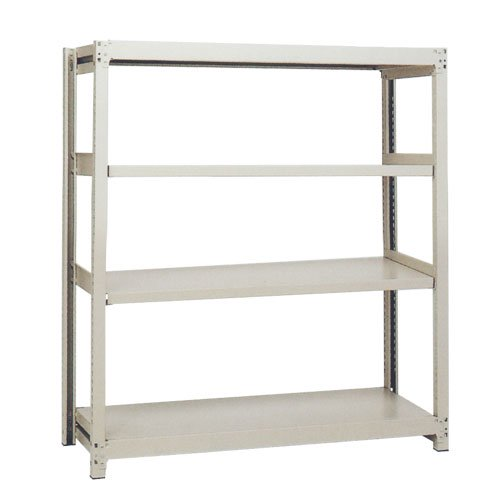 スチール棚 中軽量200kg基本(単体棚) H1500×W1200×D300(mm) 棚板4枚