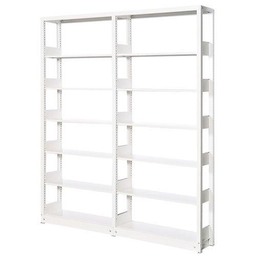 スチール書架(本棚・書棚) 単式 2連結棚 ホワイト色 H2270×W1840×D300(mm) A4縦対応のメイン画像