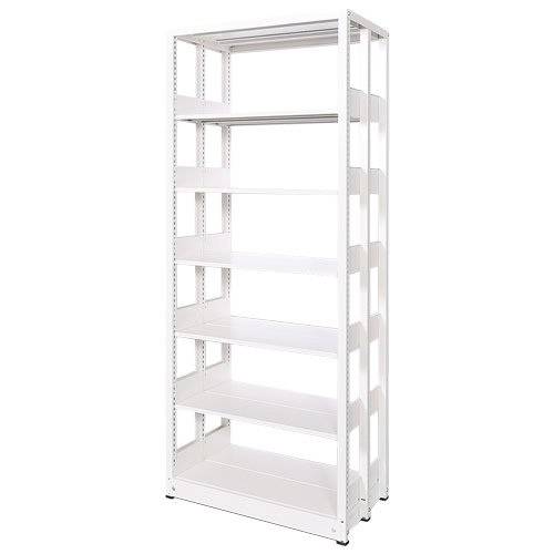 スチール書架(本棚・書棚) 複式 単体棚 ホワイト色 H1920×W940×D680(mm) A4横対応