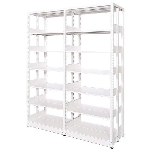 スチール書架(本棚・書棚) 複式 2連結棚 ホワイト色 H1920×W1840×D680(mm) A4横対応