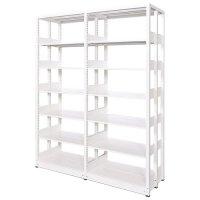 スチール書架(本棚・書棚) 複式 2連結棚 ホワイト色 H2270×W1840×D560(mm) A4縦対応の商品画像