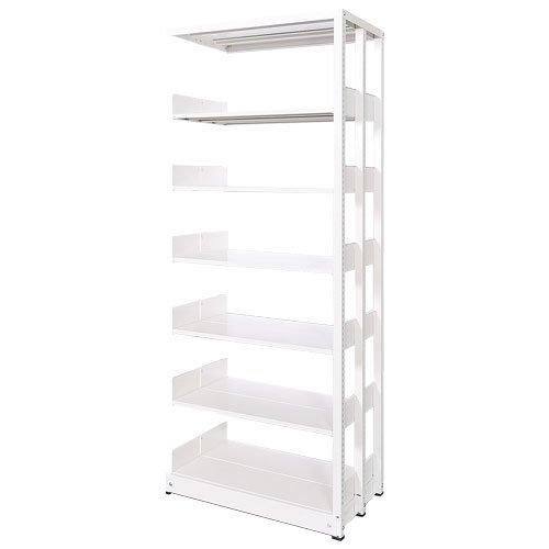 スチール書架(本棚・書棚) 複式 追加連結棚 ホワイト色 H1920×W900×D920(mm) B4対応