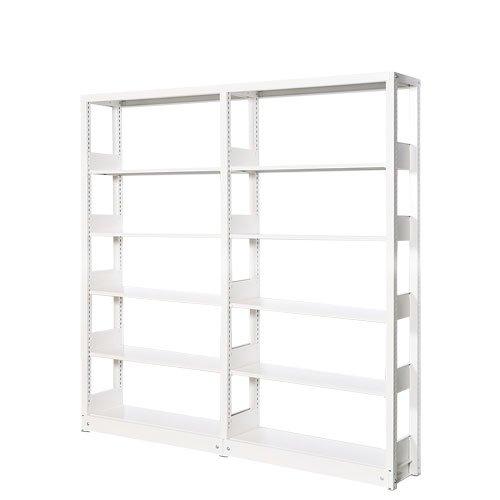 スチール書架(本棚・書棚) 単式 2連結棚 ホワイト色 H1620×W1840×D260(mm) B5対応