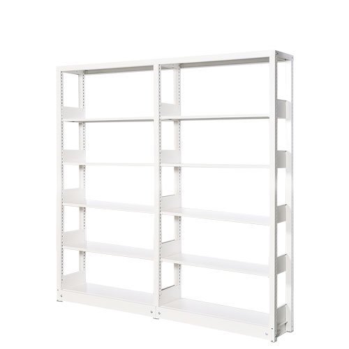 スチール書架(本棚・書棚) 単式 2連結棚 ホワイト色 H1620×W1840×D360(mm) A4横対応