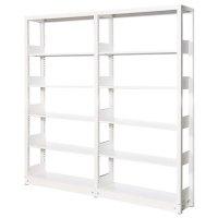 スチール書架(本棚・書棚) 単式 2連結棚 ホワイト色 H1920×W1840×D300(mm) A4縦対応の商品画像