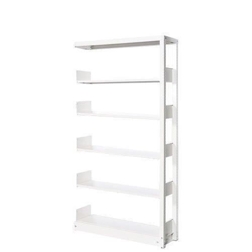 スチール書架(本棚・書棚) 単式 追加連結棚 ホワイト色 H1620×W900×D480(mm) B4対応