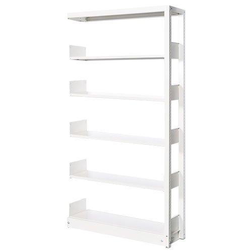 スチール書架(本棚・書棚) 単式 追加連結棚 ホワイト色 H1920×W900×D300(mm) A4縦対応