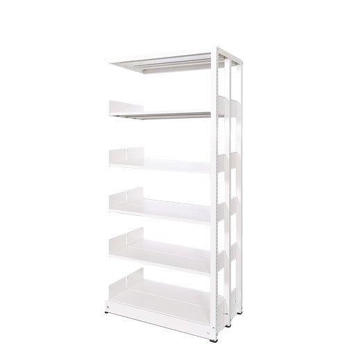 スチール書架(本棚・書棚) 複式 追加連結棚 ホワイト色 H1620×W900×D680(mm) A4横対応