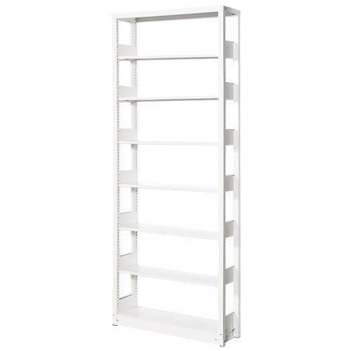 スチール書架(本棚・書棚) 単式 単体棚 ホワイト色 H2585×W940×D300(mm) A4縦対応