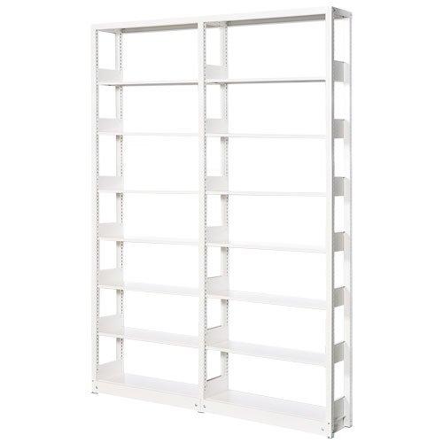スチール書架(本棚・書棚) 単式 2連結棚 ホワイト色 H2585×W1840×D300(mm) A4縦対応