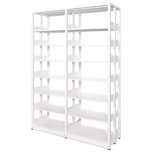 スチール書架(本棚・書棚) 複式 2連結棚 ホワイト色 H2270×W1840×D680(mm) A4横対応