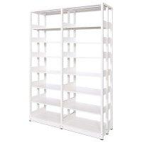 スチール書架(本棚・書棚) 複式 2連結棚 ホワイト色 H2270×W1840×D680(mm) A4横対応の商品画像