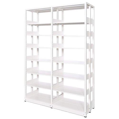 スチール書架(本棚・書棚) 複式 2連結棚 ホワイト色 H2585×W1840×D560(mm) A4縦対応