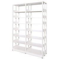 スチール書架(本棚・書棚) 複式 2連結棚 ホワイト色 H2585×W1840×D560(mm) A4縦対応の商品画像