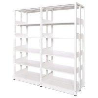 スチール書架(本棚・書棚) 複式 2連結棚 ホワイト色 H1920×W1840×D560(mm) A4縦対応の商品画像