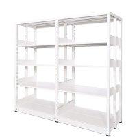 スチール書架(本棚・書棚) 複式 2連結棚 ホワイト色 H1620×W1840×D560(mm) A4縦対応の商品画像