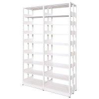 スチール書架(本棚・書棚) 複式 2連結棚 ホワイト色 H2585×W1840×D480(mm) B5対応の商品画像