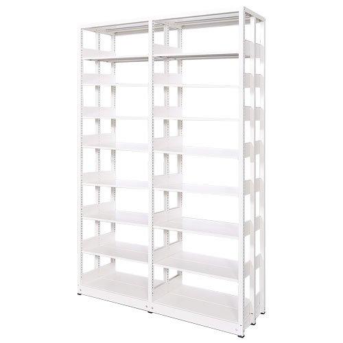 スチール書架(本棚・書棚) 複式 2連結棚 ホワイト色 H2585×W1840×D680(mm) A4横対応のメイン画像