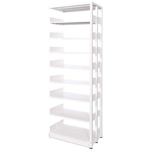 スチール書架(本棚・書棚) 複式 追加連結棚 ホワイト色 H2585×W900×D480(mm) B5対応のメイン画像