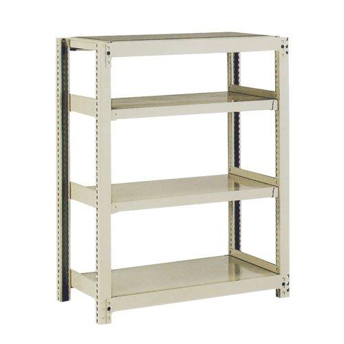 スチール棚 中量300kg基本(単体棚) H1500×W1200×D450(mm) 棚板4枚 ※柱芯寸法のメイン画像