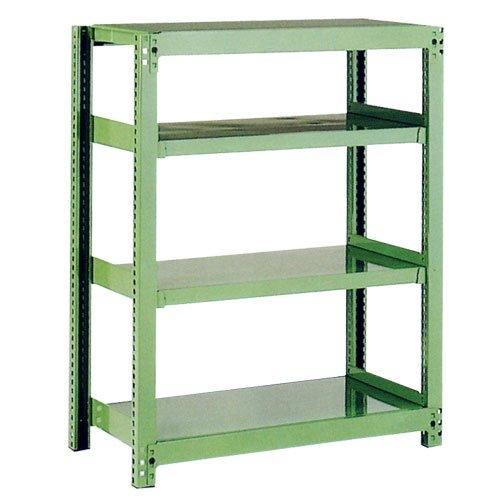 スチール棚 中量500kg基本(単体棚) H1500×W1200×D450(mm) 棚板4枚 ※柱芯寸法のメイン画像