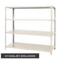 スチール棚 軽量オープン棚 H1500×W1200×D300(mm) 棚板4枚の画像