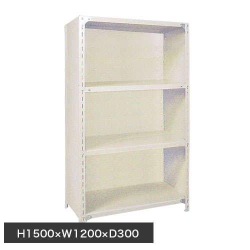 スチール棚 軽量パネル棚 H1500×W1200×D300(mm) 棚板4枚のメイン画像