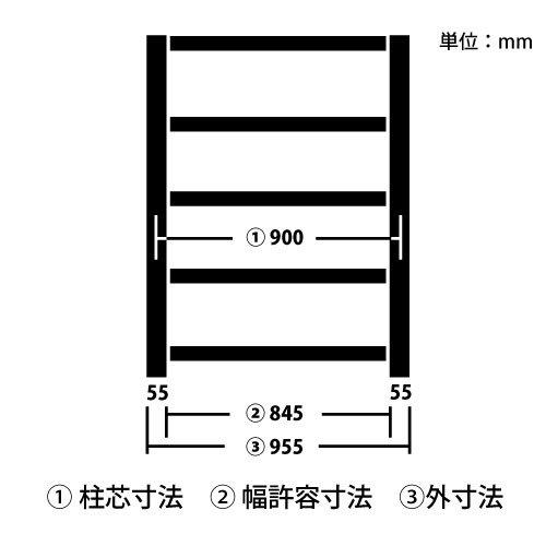 柱芯寸法とは(中量スチール棚)のメイン画像